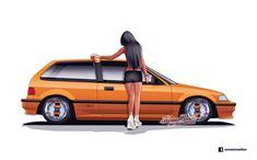 Honda Civic Car, Honda Civic Hatchback, Honda Cars, Cool Car Stickers, Civic Ef, Car Ui, Jdm Wallpaper, Japanese Domestic Market, Nissan 240sx