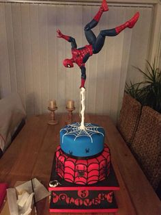 Looking for cake decorating project inspiration? Check out Spiderman gravity defying cake by member Gravity Cake, Gravity Defying Cake, Superhero Cake, Superhero Birthday Party, Birthday Cake Boy, Spiderman Birthday Cake, 4th Birthday, Spiderman Theme Party, Turtle Birthday Parties