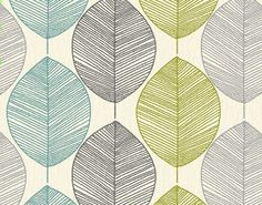 """Arthouse Opera Retro Leaf"" teal, lime green, grey & silver. Perfect inspiration pattern for a room."