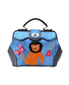 Embroidered & Appliqued Color-block Lion Shoulder Bag   BlackFive
