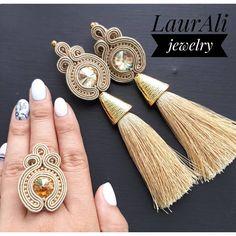 Diy Tassel Earrings, Tassel Jewelry, Chandelier Earrings, Diy Jewelry, Jewelery, Handmade Jewelry, Jewelry Making, Soutache Bracelet, Soutache Jewelry