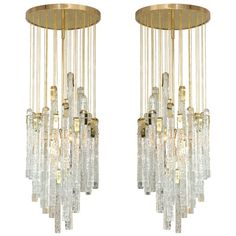 Magnificient Pair of Italian Glass Chandelier.
