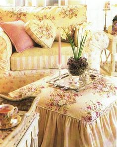 Floral Fabric : pink & yellow