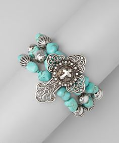Turquoise & Silver Filigree Cross Stretch Bracelet
