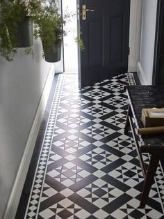 It With Patterned Vinyl Floor Tiles!Fake It With Patterned Vinyl Floor Tiles! Hall Tiles, Tiled Hallway, Hallway Ideas Entrance Narrow, Modern Hallway, Doorway Ideas, Hallway Closet, Entryway, Upstairs Hallway, Hallway Storage