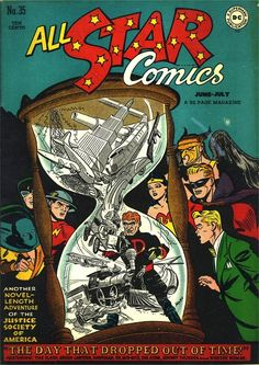 All Star Comics #35, july 1947, cover by Irwin Hasen.