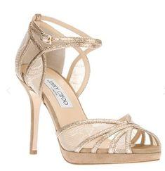Jimmy Choo Fayme Lace Platform Sandal champagne