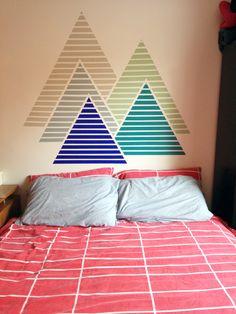 Gorgeous colorful mountain washi-tape wall