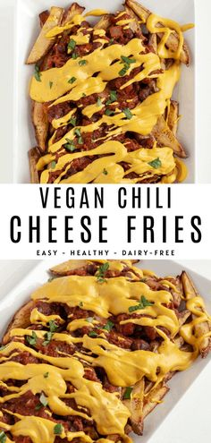 Vegan chili cheese fries are healthy, easy, and delicious! It's the BEST vegan comfort food. Enjoy baked fries smothered in chili and nacho cheese sauce. Vegan Party Food, Healthy Vegan Snacks, Vegan Appetizers, Vegan Dinner Recipes, Delicious Vegan Recipes, Vegan Foods, Vegan Dinners, Appetizer Recipes, Appetizer Party