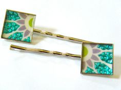 OOAK Turquoise Purple Glitter Hair Bobby Pins by HeidiKindFinds, $8.00