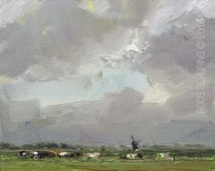 LANDSCAPE Winds Rain and Cows Lovely Day | Roos Schuring Paintings Gallery  SAVE BEFORE CHRISTMAS!