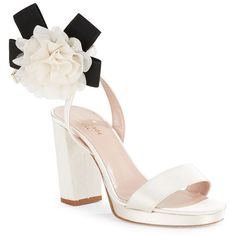Kate Spade New York Hendrika Satin and Floral Sandals ($375) ❤ liked on Polyvore featuring shoes, sandals, ivory, floral print sandals, block heel sandals, floral shoes, ivory sandals and open toe shoes