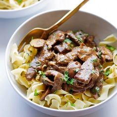 Beef Stroganoff- My easy version is ready in minutes and it's warm and comforting- perfect for fall!
