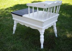 Step end table with a chalk board front