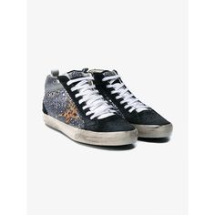 Golden Goose Mid Star Leather & Glitter Sneakers ($335) ❤ liked on Polyvore featuring shoes, sneakers, star sneakers, colorful sneakers, leopard print shoes, lace up shoes and leather shoes