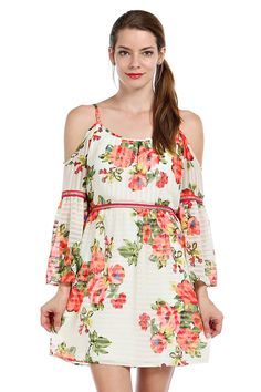 FLORAL SHADOW PRINT OPEN SHOULDER DRESS- Ivory