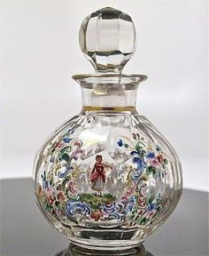 <3 Antique Victorian Enameled Flower with Figures Perfume Bottle by cristina