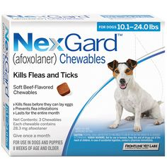 Did you know there is a new chewable form of flea and tick prevention called NexGard? It is from the makers of Frontline and comes in a monthly beef flavored chew! Pets love them and they are even ok for food allergy pets! Voted Best New Flea & Tick Control