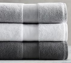 Pure organic Turkish cotton is densely woven to create our luxuriously soft and absorbent PB Classic Towels. Grey Bath Towels, White Towels, Bathroom Towels, Bath Towel Sets, Soft Towels, Hand Towels, Master Bathroom, Towel Organization, Small Bathroom Organization