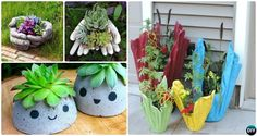 DIY Concrete Planter Projects for your porch, patio and doorway or even table top: to decorate our homes and garden with green plants and flowers.