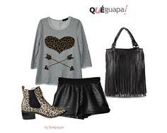 De cena con los amigos!! Jersey gris de corazón, shorts de polipiel,bolso de flecos negro y botines de leopardo.