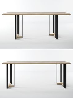 The Ink table embodies designer's reflections on the art of calligraphy and pieces of workmanship. The metal support beam resembles a hieroglyph with the firm, steady and, at the same time, delicate and elegant form, just as the very art of calligraphy. Furniture Dining Table, Dining Table Design, Dining Table Chairs, Living Furniture, Luxury Furniture, Modern Furniture, Furniture Design, Furniture Outlet, Furniture Stores