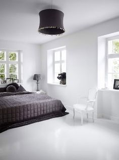 chambre gris blanc