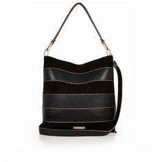 River Island Black panel bucket handbag ($70) ❤ liked on Polyvore featuring bags, handbags, bags / purses, black, shoppers / tote bags, women, bucket handbag, hand bags, man tote bag and tote purses