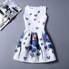Sleeveless Print Party Dress