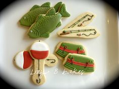 Lizy B: Fishing Cookies! Design process for an order Fish Cookies, Man Cookies, Cut Out Cookies, Iced Cookies, Cute Cookies, Royal Icing Cookies, Cupcake Cookies, Cupcakes, Biscuits