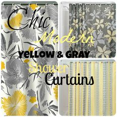 Yellow bathroom Shower Curtain - Chic & Affordable Yellow and Gray Shower Curtains. Yellow And Grey Curtains, Yellow Shower Curtains, Bathroom Shower Curtains, Room Wall Colors, Bathroom Colors, New Bathroom Ideas, Bathroom Plans, Bathroom Updates, Bathroom Designs