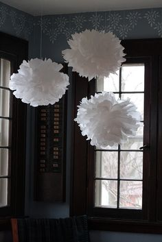 tissue snowballs hanging