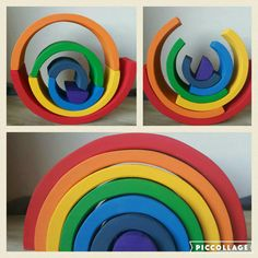 Gifts for kids - wooden toys - montessori - waldorf - reggio - Rainbow stacker rainbow puzzle stacker puzzle by SensoryPlay