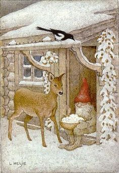 New Single Postcard by Lennart Helje Gnome Bird House Roe Deer Swedish Christmas, Christmas Gnome, Scandinavian Christmas, Christmas Art, Art And Illustration, Christmas Illustration, Troll, Elves And Fairies, Theme Noel