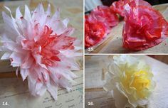 How to make a Coffee Filter Bouquet of different types of flowers...a good way to paint the filters