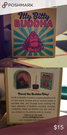 Thoughtful gift... itty bitty Buddha. Brand new. Perfect for a traveler.. compete with tiny laughing Buddha, stand, incense and incense holder, portable alter, 32 page book outlining basics of Buddhist teaching. Other