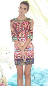 Multi Long Sleeve Floral Angel Print Dress $57.3