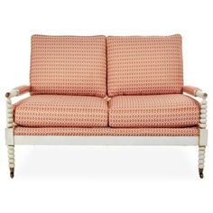 """Check out this item at One Kings Lane! Ava 56"""" Settee, Peach"""