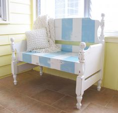 Revive your child's no-longer-needed twin bed as a charming bench.