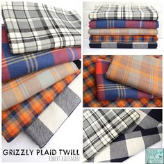 Robert Kaufman House Designer - Grizzly Plaid Twill Fabric Collection