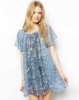 Pepe Jeans Floral Peasant Dress - Blue