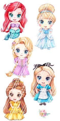 Watercolor clipart Princesses little princesses Rapunzel Disney Princess Babies, Disney Princess Cartoons, All Disney Princesses, Disney Princess Drawings, Disney Princess Pictures, Princess Art, Baby Disney, Disney Art, Princess Rapunzel
