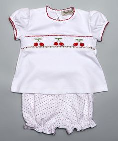Look what I found on #zulily! White Cherry Smocked Top & Bloomers - Infant #zulilyfinds