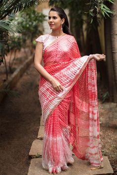 Peach Shibori shaded Bagalpuri saree with pearl border #saree #houseofblouse #peach #pink #bagalpuri