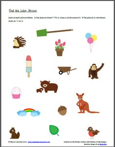 Color Recognition: Find the Color Brown - Mamas Learning Corner Arabic Alphabet Letters, Toddler Worksheets, Preschool Colors, Toddler Art Projects, Preschool Learning Activities, Daycare Ideas, Therapy Ideas, Coloring For Kids, Speech Therapy