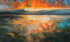 "Kelly Johnston. Daybreak. 2016. Water soluble oil on canvas. 36"" x 60"""