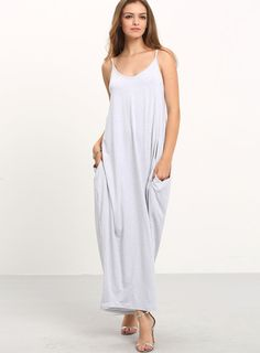 Grey Spaghetti Strap Pockets V Back Maxi Dress
