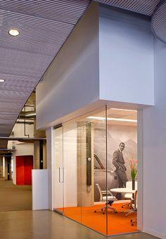 Glass meeting room with bulkhead/overhang