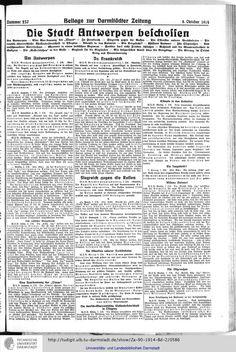 Darmstädter Zeitung: amtliches Organ der Hessischen Landesregierung (1914, Vol. 2) (Darmstadt, 1914) Die Stadt Antwerpen beschossen ...