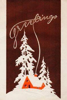 Art Deco. Christmas Greetings. Vintage Christmas Card. Retro Christmas Card.